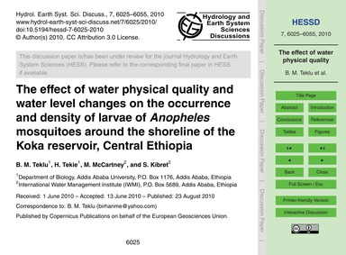 The Effect of Water Physical Quality and... by Teklu, B. M.
