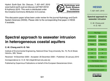 Spectral Approach to Seawater Intrusion ... by Chang, C.-m.