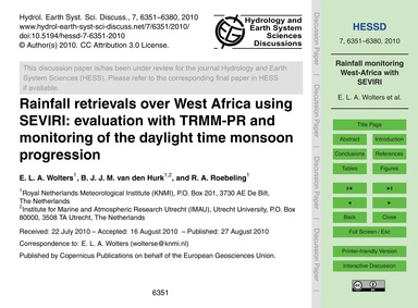Rainfall Retrievals Over West Africa Usi... by Wolters, E. L. A.