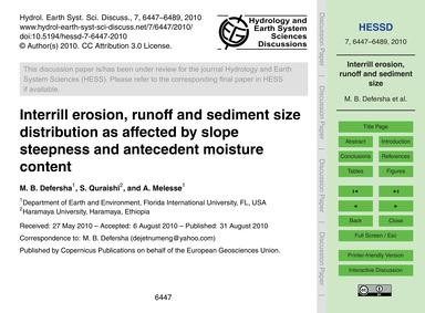 Interrill Erosion, Runoff and Sediment S... by Defersha, M. B.
