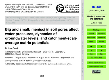 Big and Small: Menisci in Soil Pores Aff... by De Rooij, G. H.