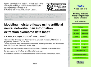Modeling Moisture Fluxes Using Artificia... by Neal, A. L.