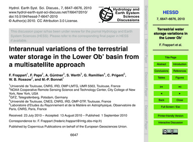 Interannual Variations of the Terrestria... by Frappart, F.