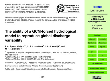 The Ability of a Gcm-forced Hydrological... by Sperna Weiland, F. C.