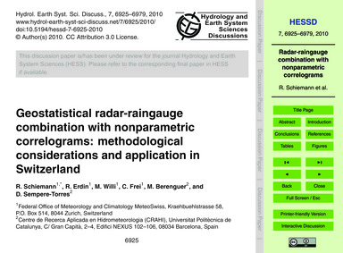 Geostatistical Radar-raingauge Combinati... by Schiemann, R.