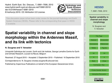 Spatial Variability in Channel and Slope... by Sougnez, N.