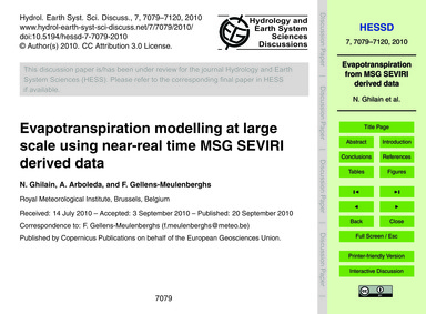 Evapotranspiration Modelling at Large Sc... by Ghilain, N.