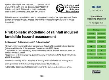 Probabilistic Modelling of Rainfall Indu... by Kawagoe, S.