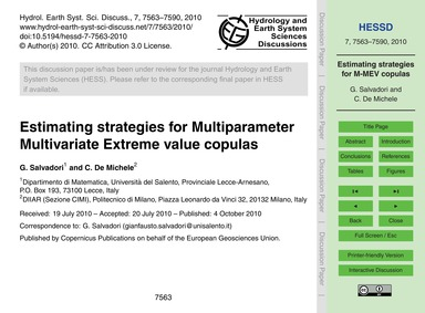 Estimating Strategies for Multiparameter... by Salvadori, G.