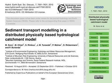 Sediment Transport Modelling in a Distri... by Konz, M.