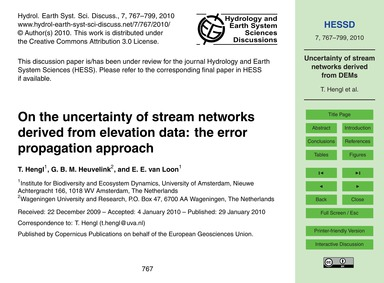 On the Uncertainty of Stream Networks De... by Hengl, T.