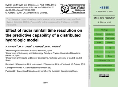 Effect of Radar Rainfall Time Resolution... by Atencia, A.