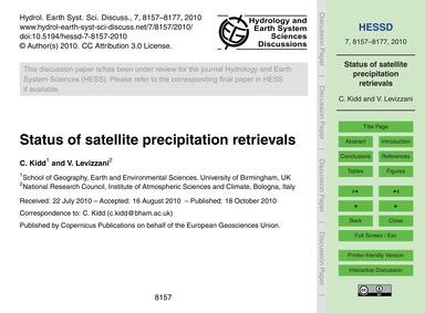 Status of Satellite Precipitation Retrie... by Kidd, C.
