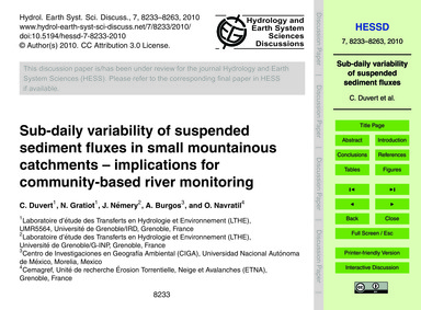 Sub-daily Variability of Suspended Sedim... by Duvert, C.