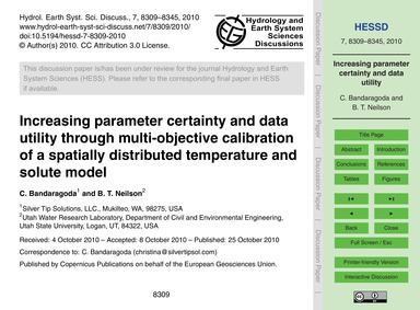 Increasing Parameter Certainty and Data ... by Bandaragoda, C.