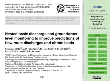 Nested-scale Discharge and Groundwater L... by Van Der Velde, Y.