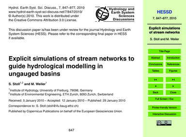 Explicit Simulations of Stream Networks ... by Stoll, S.