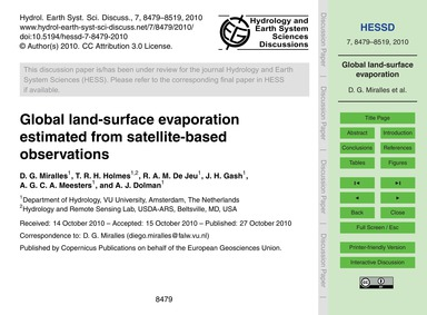 Global Land-surface Evaporation Estimate... by Miralles, D. G.