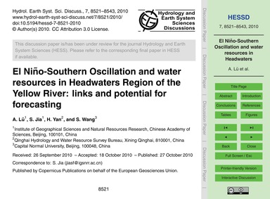 El Niño-southern Oscillation and Water R... by Lü, A.