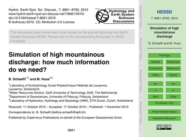 Simulation of High Mountainous Discharge... by Schaefli, B.