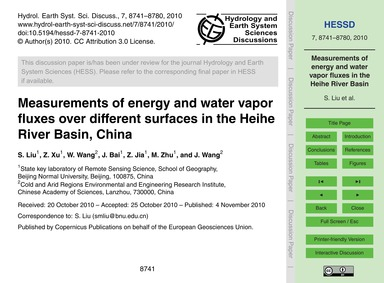 Measurements of Energy and Water Vapor F... by Liu, S.