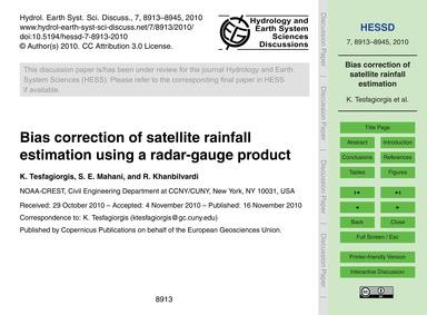 Bias Correction of Satellite Rainfall Es... by Tesfagiorgis, K.