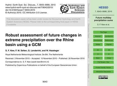Robust Assessment of Future Changes in E... by Kew, S. F.