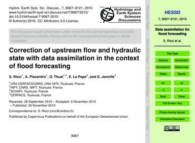 Correction of Upstream Flow and Hydrauli... by Ricci, S.