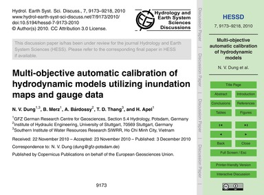 Multi-objective Automatic Calibration of... by Dung, N. V.