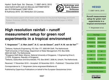 High Resolution Rainfall – Runoff Measur... by Vergroesen, T.