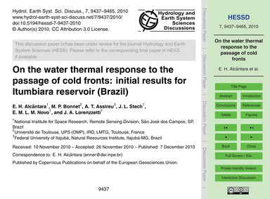 On the Water Thermal Response to the Pas... by Alcântara, E. H.