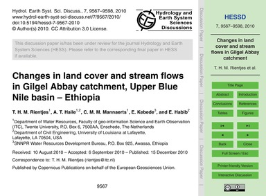 Changes in Land Cover and Stream Flows i... by Rientjes, T. H. M.