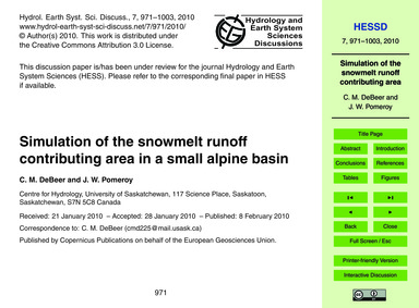 Simulation of the Snowmelt Runoff Contri... by Debeer, C. M.