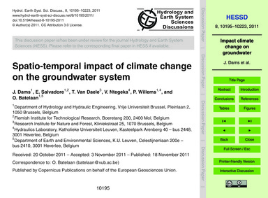 Spatio-temporal Impact of Climate Change... by Dams, J.