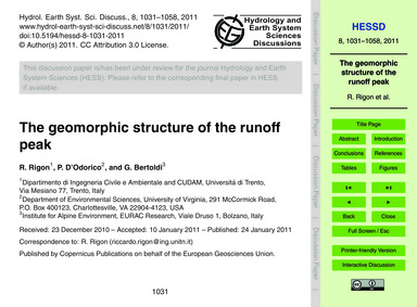 The Geomorphic Structure of the Runoff P... by Rigon, R.