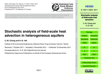 Stochastic Analysis of Field-scale Heat ... by Chang, C.-m.