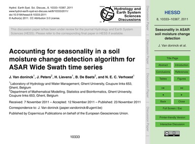 Accounting for Seasonality in a Soil Moi... by Van Doninck, J.
