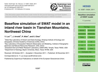 Baseflow Simulation of Swat Model in an ... by Luo, Y.