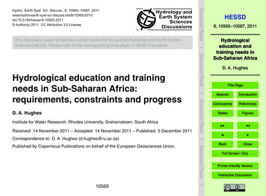 Hydrological Education and Training Need... by Hughes, D. A.