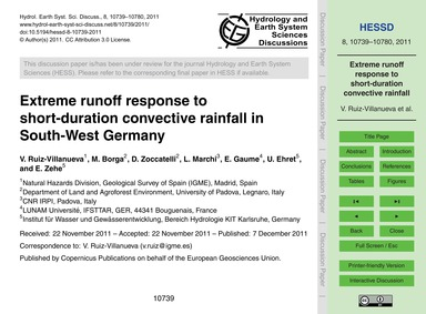 Extreme Runoff Response to Short-duratio... by Ruiz-villanueva, V.