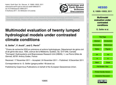 Multimodel Evaluation of Twenty Lumped H... by Seiller, G.