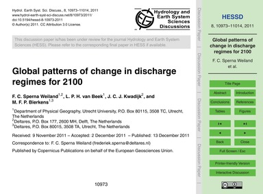 Global Patterns of Change in Discharge R... by Sperna Weiland, F. C.