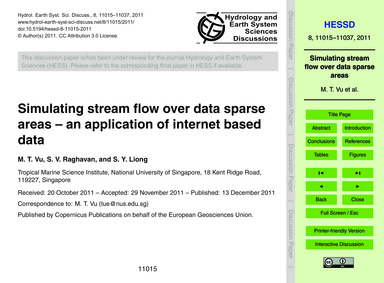 Simulating Stream Flow Over Data Sparse ... by Vu, M. T.