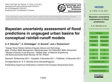 Bayesian Uncertainty Assessment of Flood... by Sikorska, A. E.