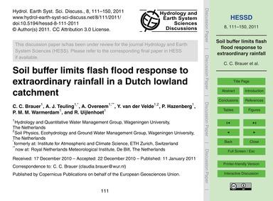 Soil Buffer Limits Flash Flood Response ... by Brauer, C. C.