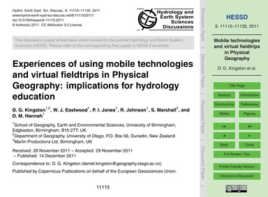 Experiences of Using Mobile Technologies... by Kingston, D. G.