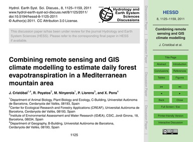 Combining Remote Sensing and Gis Climate... by Cristóbal, J.
