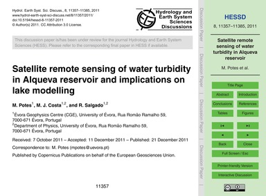 Satellite Remote Sensing of Water Turbid... by Potes, M.