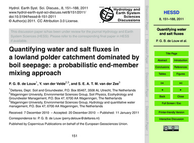 Quantifying Water and Salt Fluxes in a L... by De Louw, P. G. B.