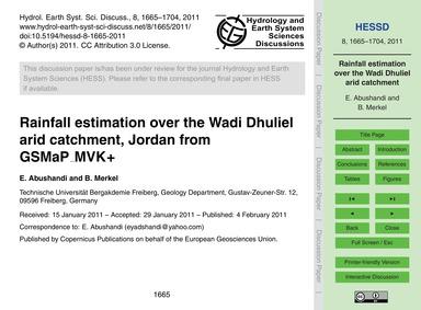 Rainfall Estimation Over the Wadi Dhulie... by Abushandi, E.